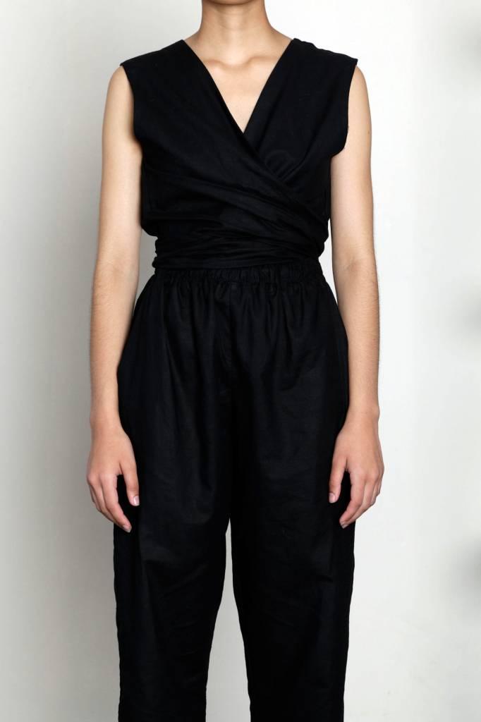 Selfi Sleeveless Wrap Jumpsuit, Navy Blue