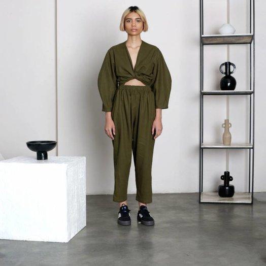 Selfi Oval Sleeve Jumpsuit, Olive Green