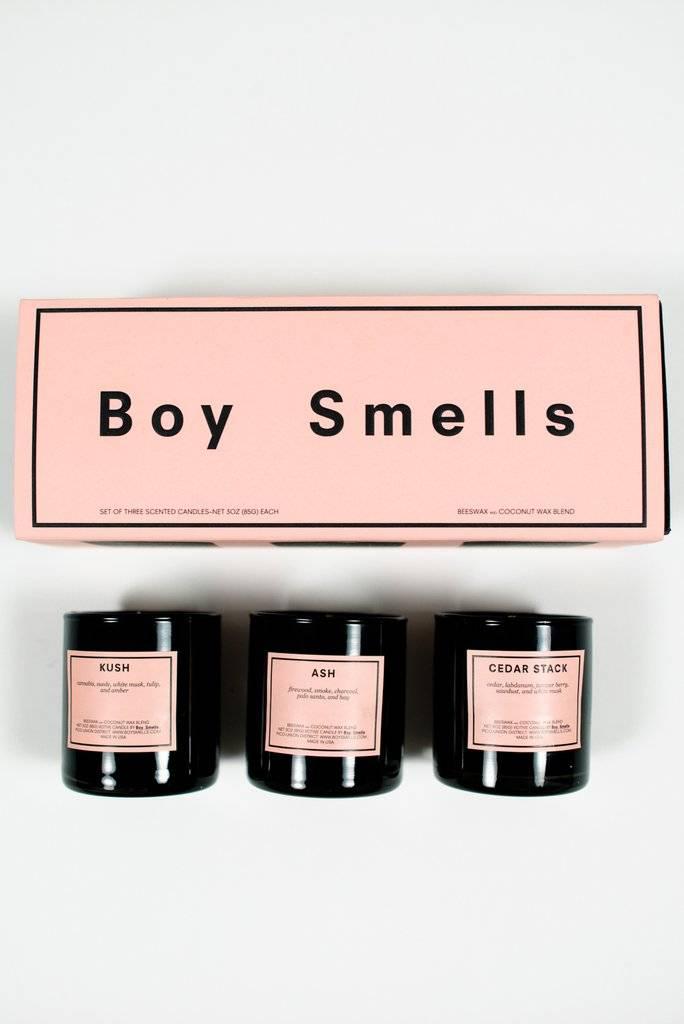 Boy Smells Boy Smells Trio Votive Set (3 × 3oz votives) — Kush + Ash + Cedar Stack