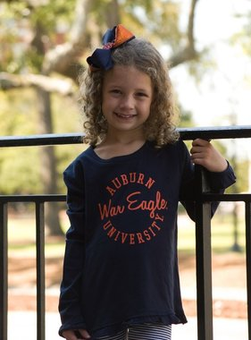League Auburn Script War Eagle University Ruffle Youth Long Sleeve