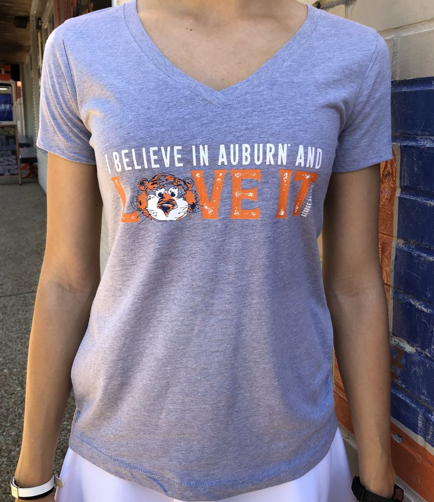 Aubie Love It Ladies V-Neck T-Shirt