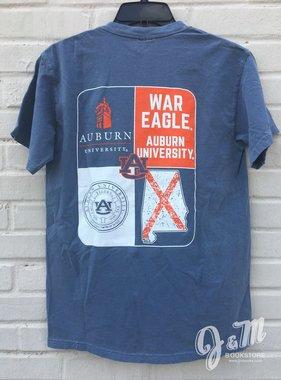 MV Sport State Outline Quadrant T-Shirt Samford War Eagle Seal State Flag