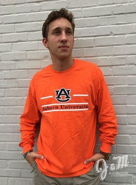 MV Sport AU Three Bar Auburn University Classic Long Sleeve T-Shirt