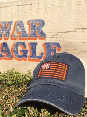 Auburn Flag, Two Tone Mesh Hat, Navy/White