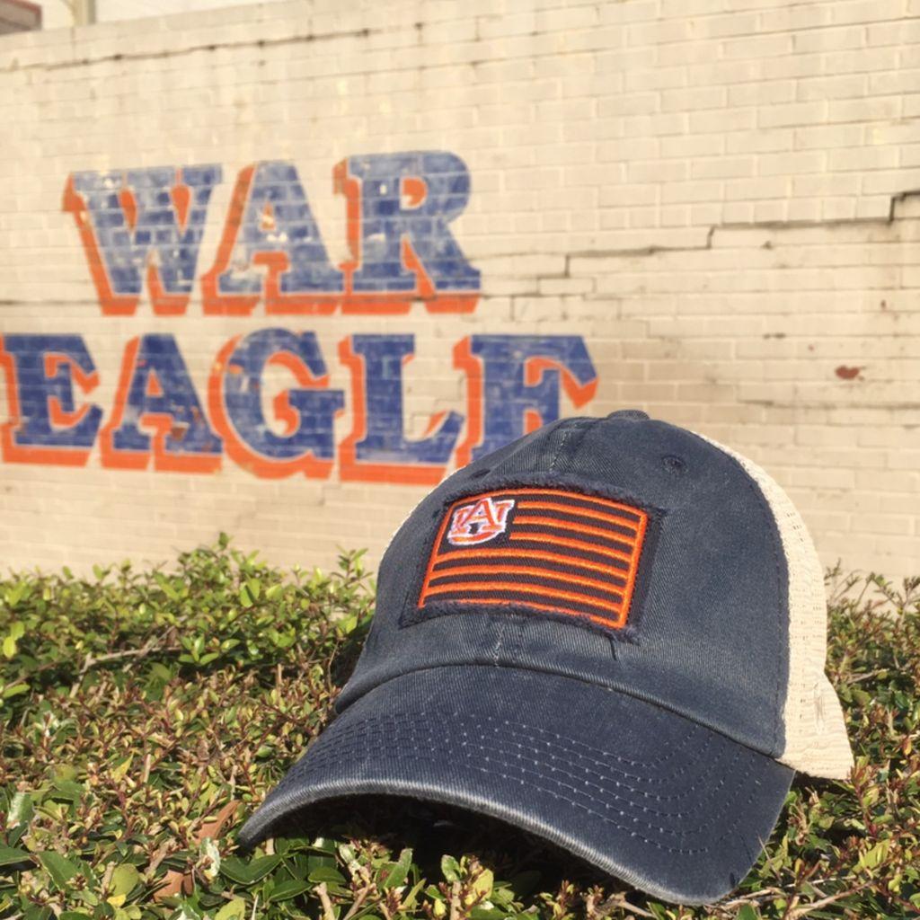 Auburn Flag, Two Tone Mesh Hat, Navy/White