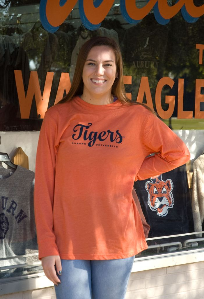 Script Tigers Auburn University Triblend Long Sleeve T-Shirt