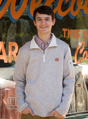 AU Men's Heathered Oatmeal 1/4 Zip Pullover