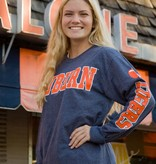 MV Sport Block Auburn Front with Tiger Paw on Back Long Sleeve T-Shirt