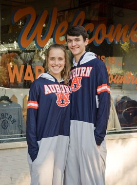 Auburn AU Three Tone Lightweight Hooded Adult Onesie