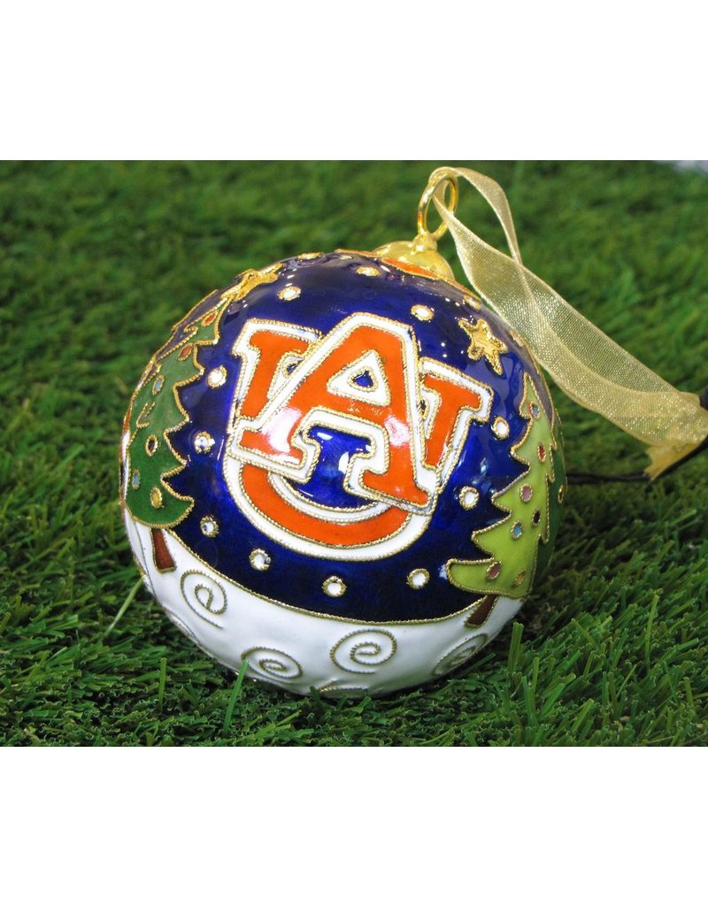 Auburn Christmas Scene with Trees Night Sky Ornament
