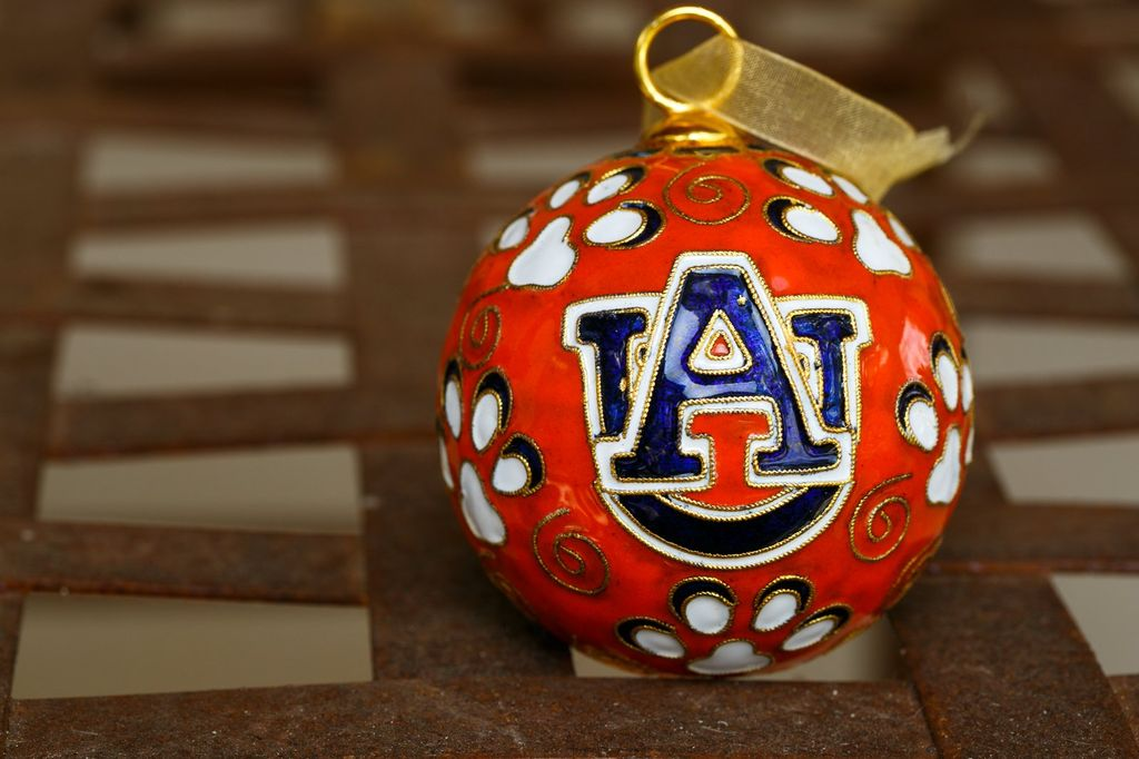 Orange AU Paw Print Ornament