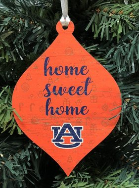 Auburn Wood Teardrop Ornament Home Sweet Home AU