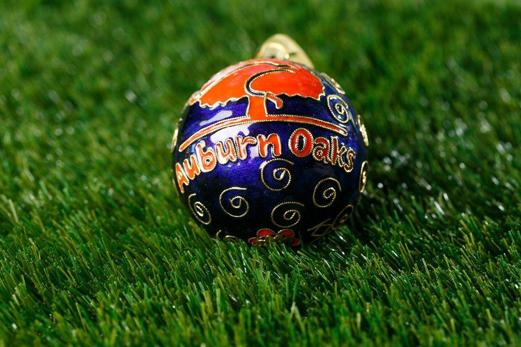Auburn Oaks Navy Ornament with Orange