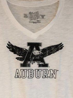 Retro Brand Women's Eagle Thru A Block Auburn V-Neck T-Shirt