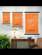The Local Market Auburn Map 13x19 Orange + TwoStick Frame