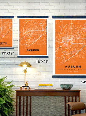 The Local Market Auburn Map 13x19 Orange + TwoStick Frame