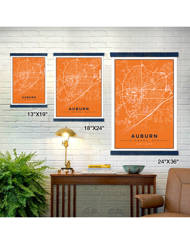 The Local Market Auburn Map 18x24 Orange + TwoStick Frame