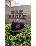 AU Solid Navy Tigers on Back Flatbill Snapback Hat