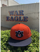 AU Orange/Navy Two Tone Tigers on Back Flatbill Snapback Hat