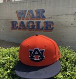 AU Orange/Navy Two Tone Tigers on Back Flatbill Snapback Hat