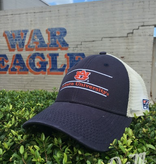 The Game AU Three Bar Auburn University Navy Front and Stone Mesh Hat Adjustable