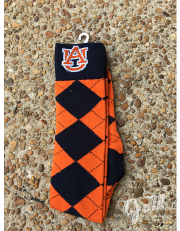 Donegal Bay AU Orange and Navy Argyle Sock