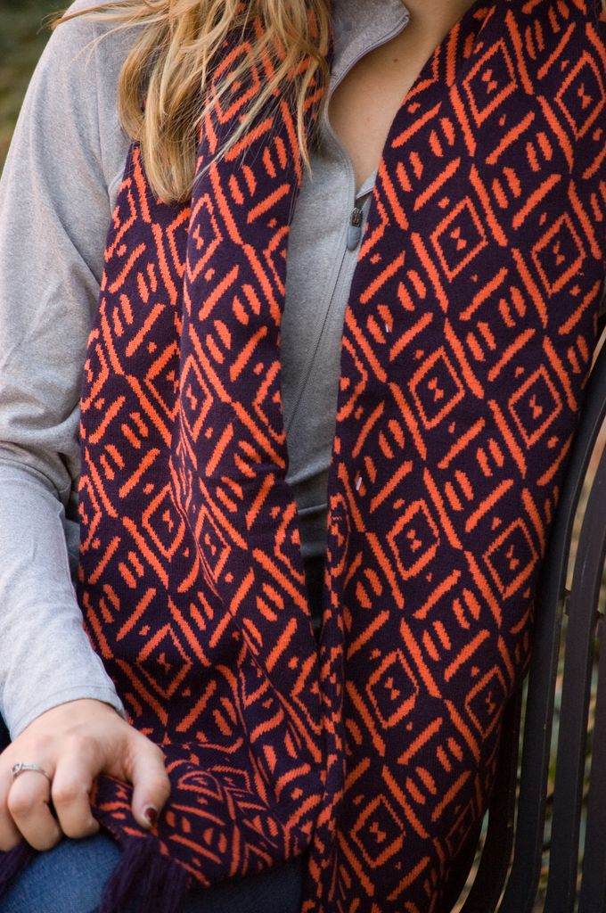 The Game Pattern Scarf with Fringe