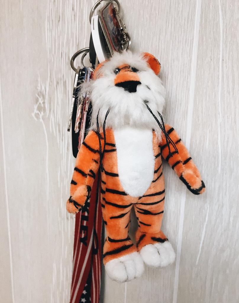 Plush Auburn Tiger Keychain