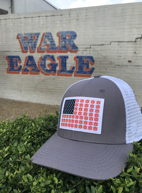 Stars and AU Stripes One-Fit Grey/White Mesh Hat