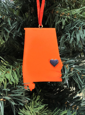 Orange State Auburn Heart Ornament