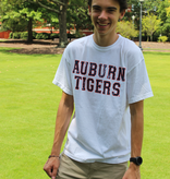 MV Sport Vintage Block Auburn Tigers on Front with Aubie Head on Back T-Shirt