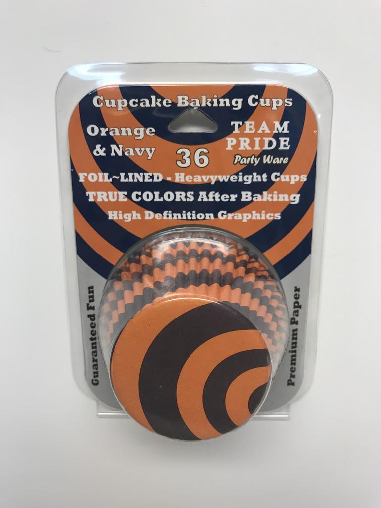 Orange and Blue Cupcake Baking Foils - 36 pack