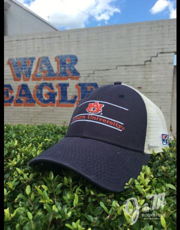 The Game AU Three Bar Auburn University Navy Front and Stone Mesh Hat