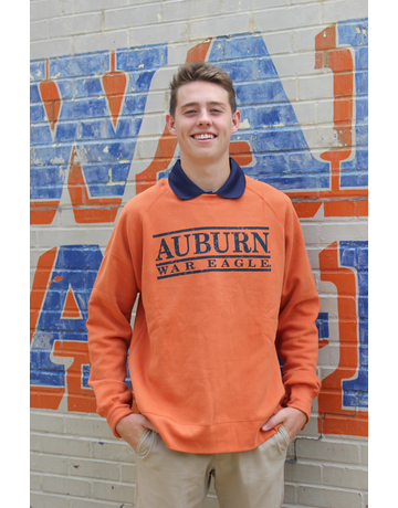 MV Sport Auburn War Eagle Three Bar Vintage Fleece Crew