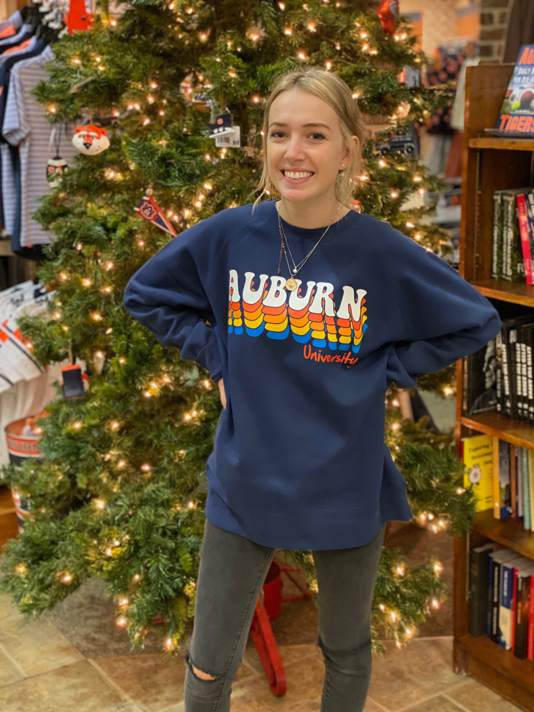 MV Sport Auburn University Retro Bubble Letter Fleece Crew