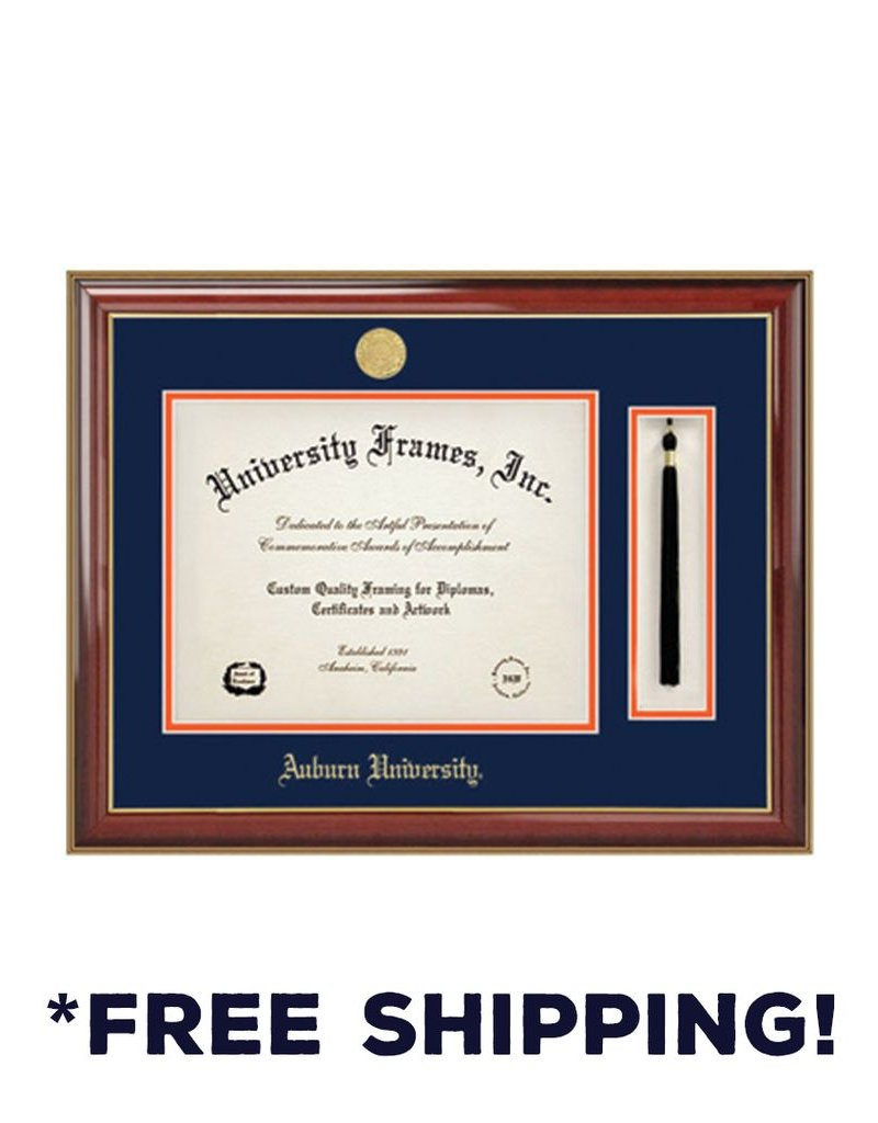 Diploma Frame A - Tassel Classic Mahogany Gold Frame Gold Medallion