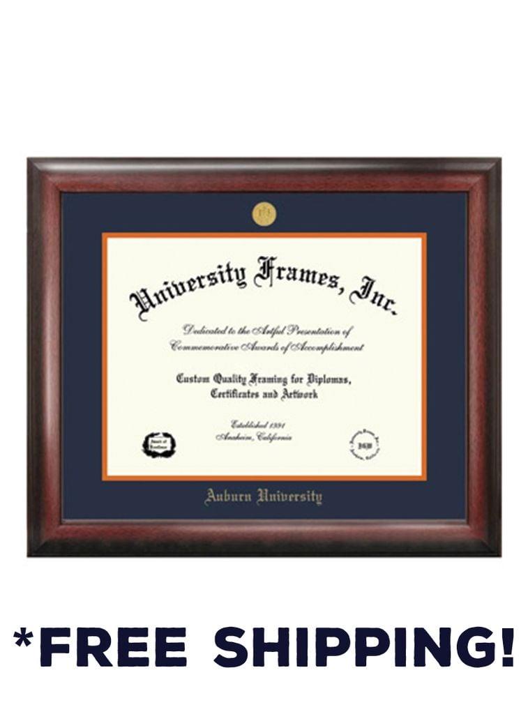 Diploma Frame F- Satin Mahogany Frame Gold Medallion