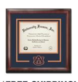 "Diploma Frame G- Satin Mahogany Navy and Orange Laser Logo ""AU Interlocking"""