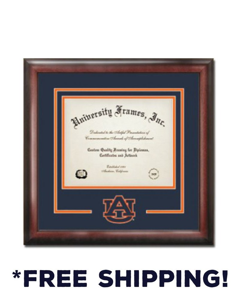 "Diploma Frame G- Satin Mahogany Navy and Orange Laser Logo ""AU Interlocking"""