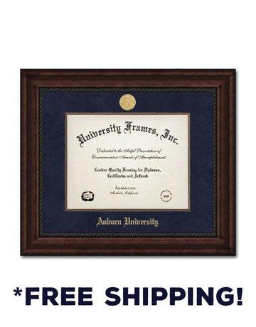 Diploma Frame I- Executive Mahogany Navy Suede Gold Medallion