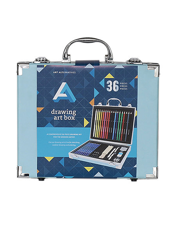 Drawing Art Box 36PC includes drawing/colored pencils, sharpeners and erasers.
