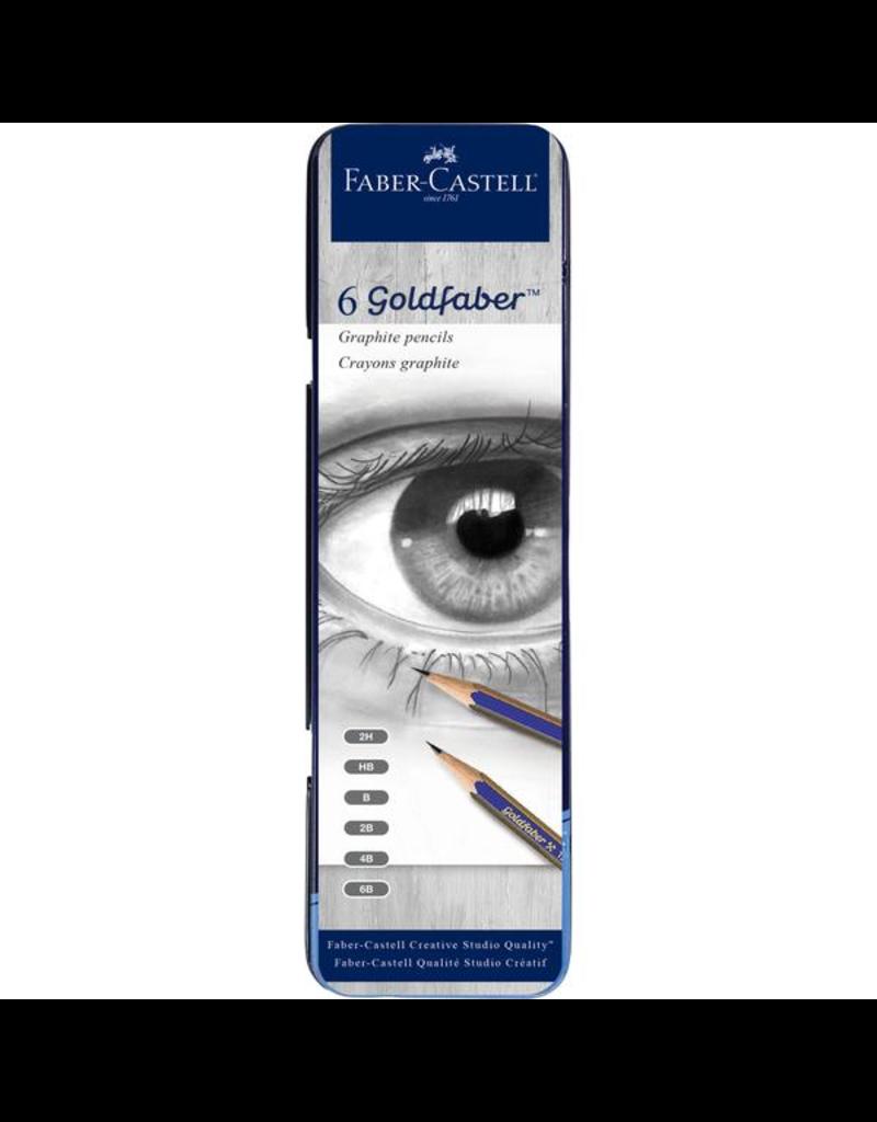 Faber Castell Graphite Pencil Tin 6 count (2H,HB,B,2B,4B,6B)