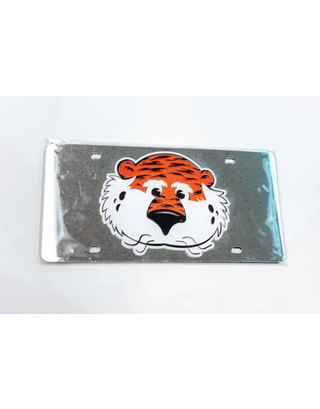 New Aubie Mirror Plastic License Plate, Silver