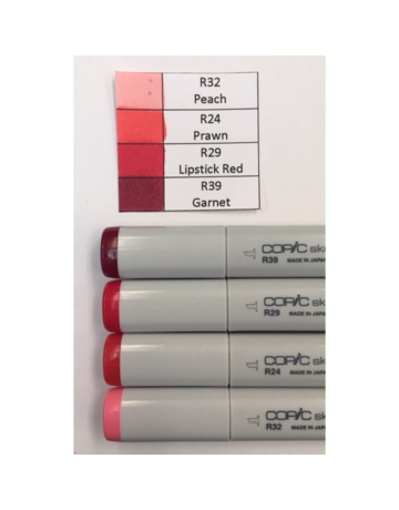 Copic Marker Set-Red R32, R24, R29, R39