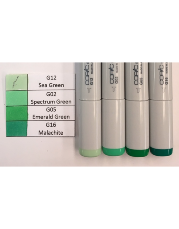 Copic Marker Set-Green<br /> G12, G02, G05, G16