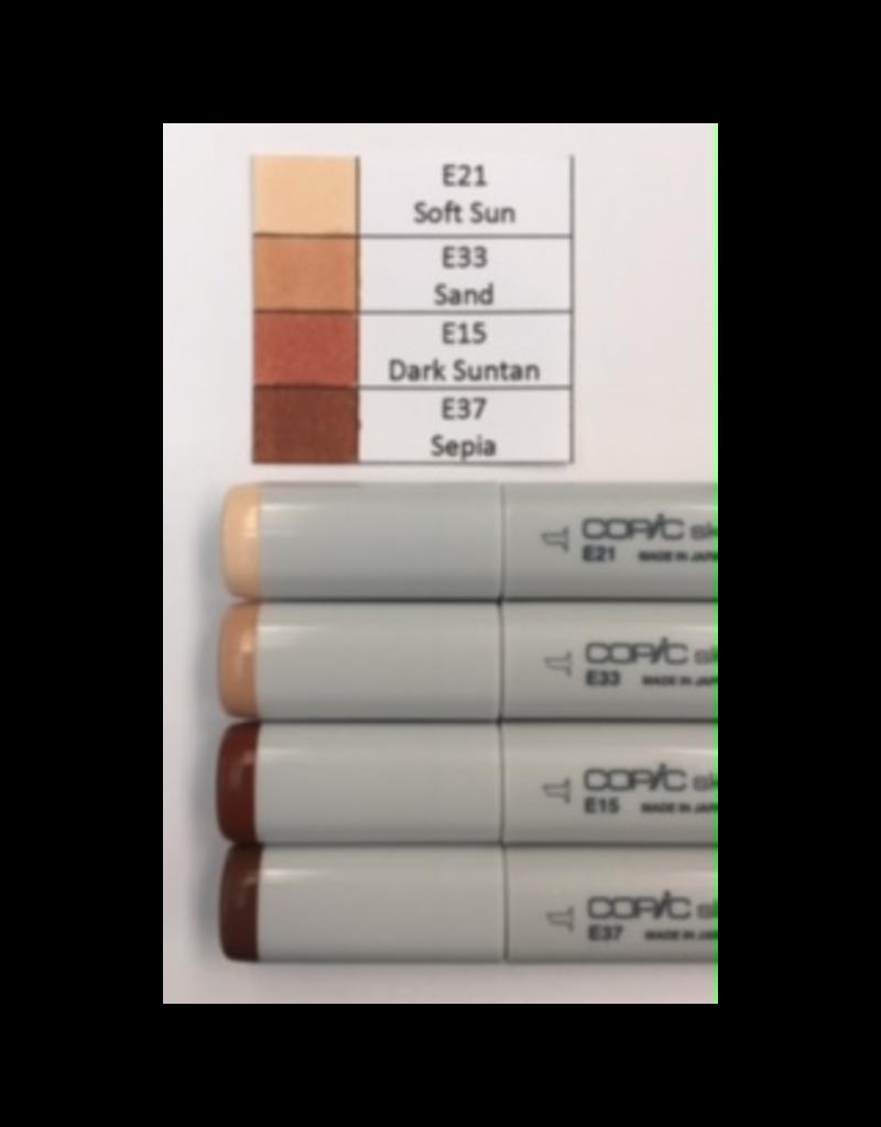 Copic Marker Set-Earth Tones E21, E33, E15, E37