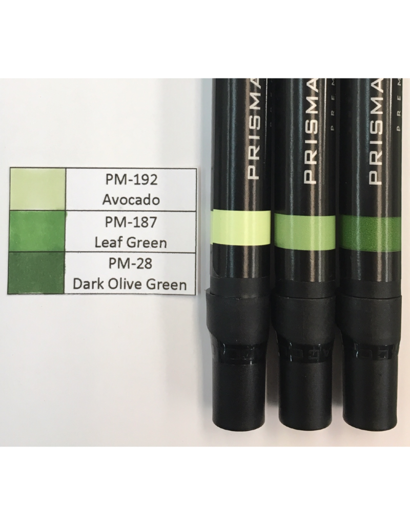 Prismacolor Green 1 Graded Set 1-PM-192, PM-187, and PM-28