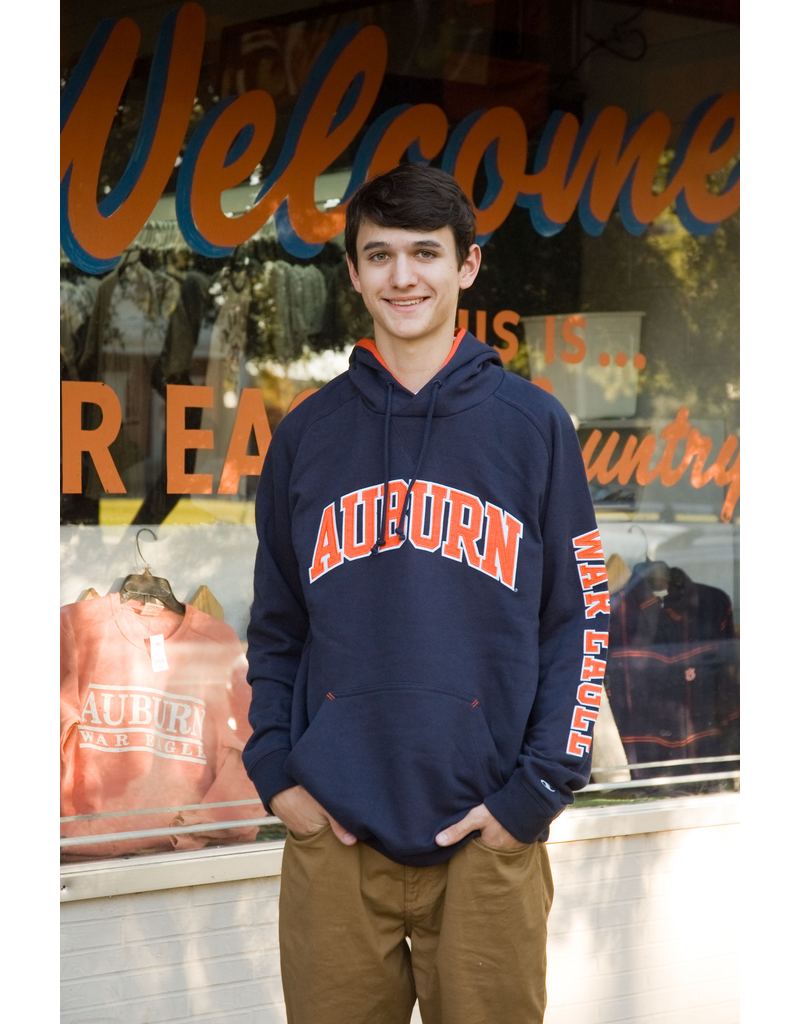 Champion Arch Auburn Embroidered with War Eagle on Sleeve Hoodie