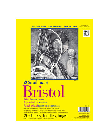 Bristol Paper Pad 300 Series 9x12 20 sheets/pad Smooth