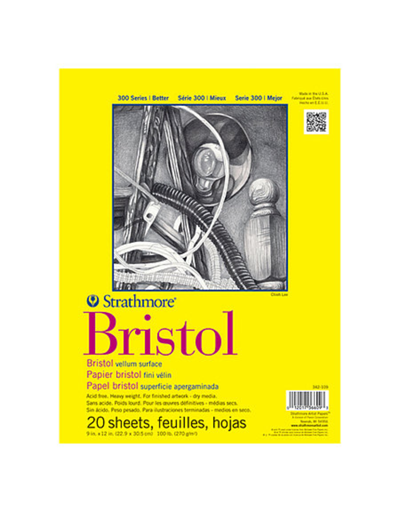 Bristol Paper Pad 300 Series 9x12 20 sheets/pad Vellum surface